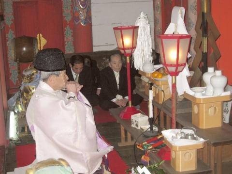 地主神社 元旦祭 石笛(いわぶえ)奏上